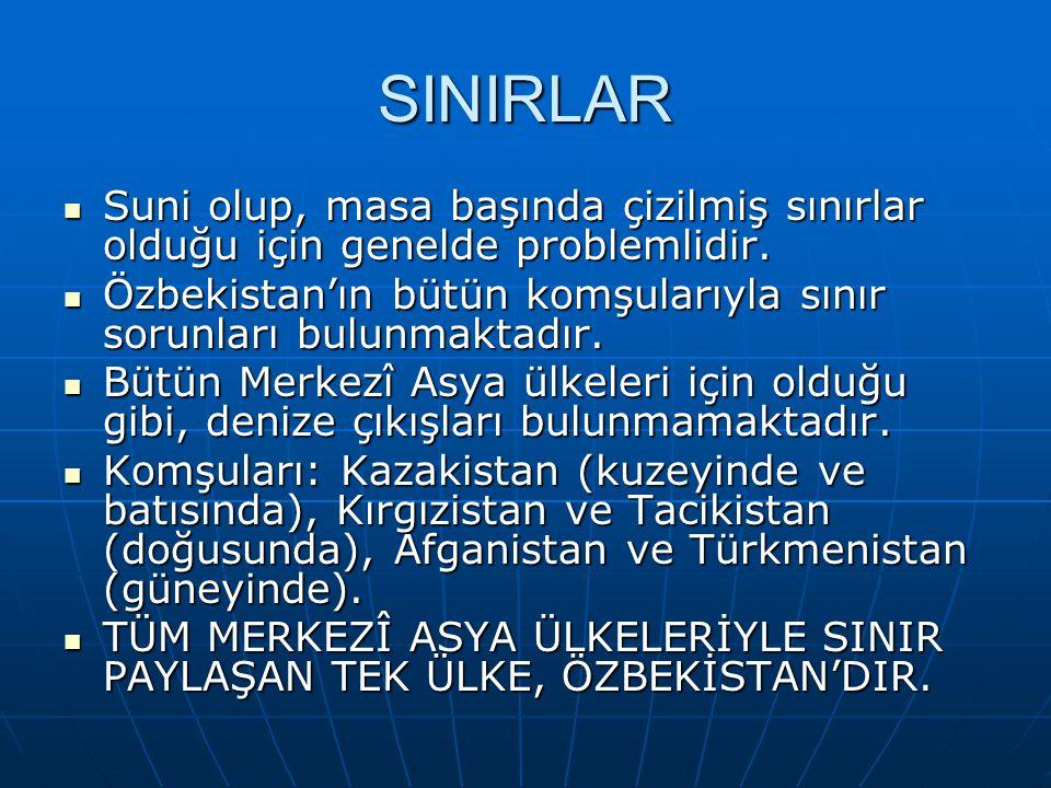 SINIRLAR Suni olup, masa başında çizilmiş sınırlar olduğu için genelde problemlidir. Özbekistan'ın bütün komşularıyla sınır sorunları bulunmaktadır.