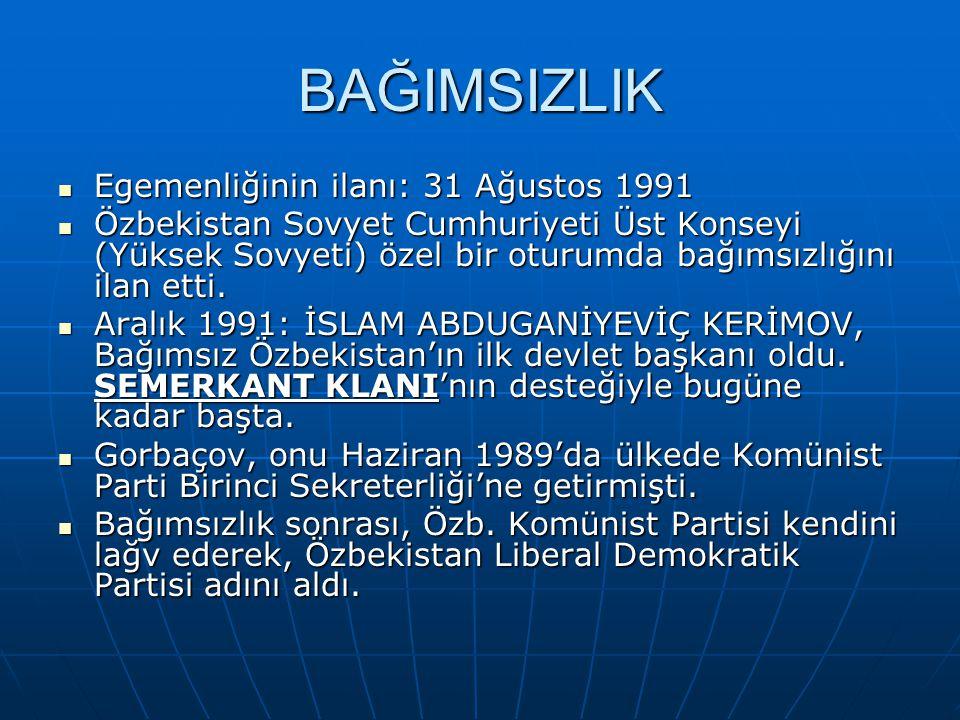 BAĞIMSIZLIK Egemenliğinin ilanı: 31 Ağustos 1991