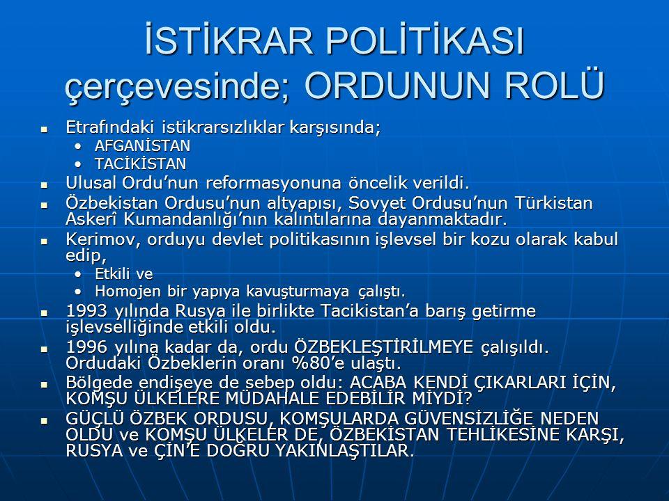İSTİKRAR POLİTİKASI çerçevesinde; ORDUNUN ROLÜ