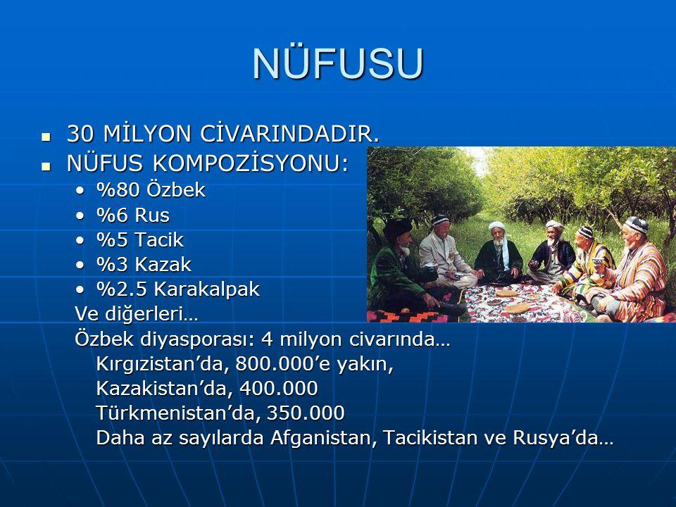 NÜFUSU 30 MİLYON CİVARINDADIR. NÜFUS KOMPOZİSYONU: %80 Özbek %6 Rus