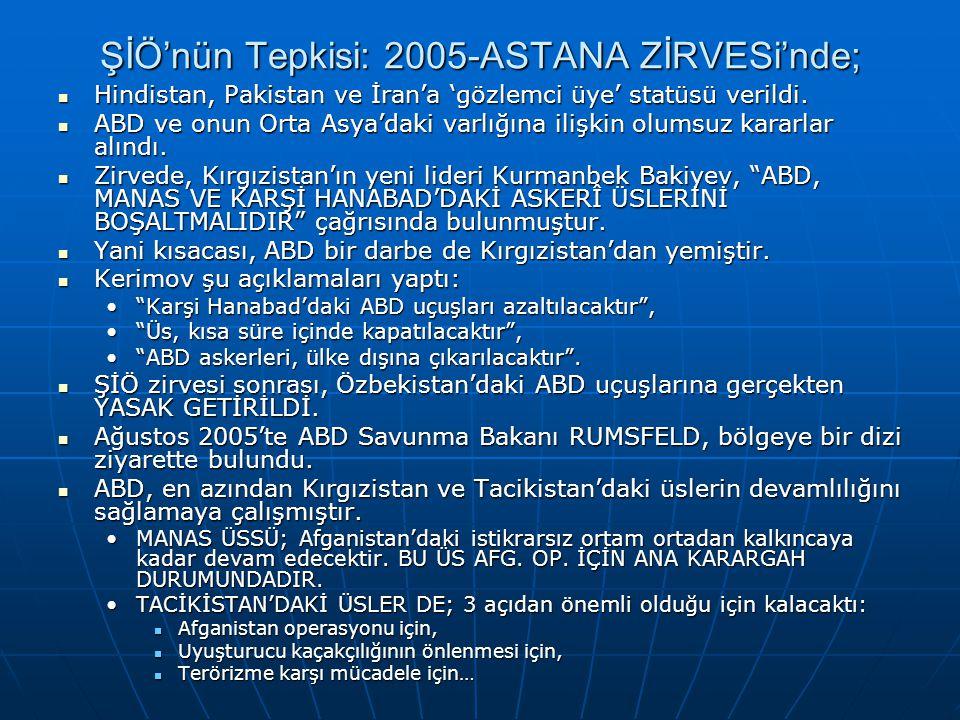 ŞİÖ'nün Tepkisi: 2005-ASTANA ZİRVESi'nde;