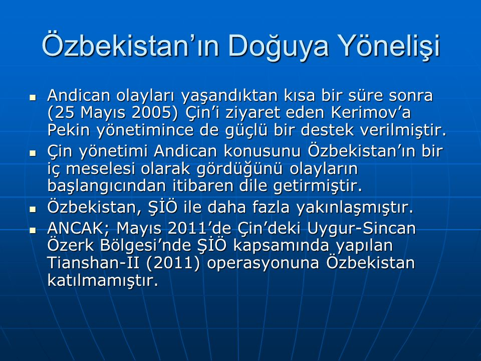 Özbekistan'ın Doğuya Yönelişi