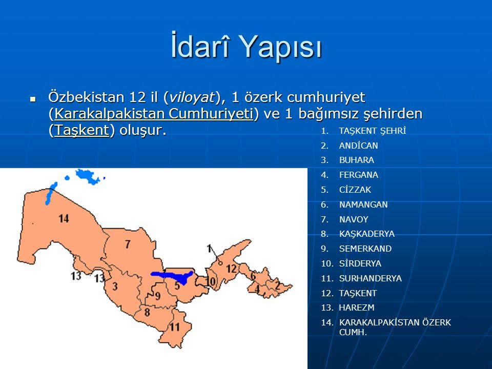 İdarî Yapısı Özbekistan 12 il (viloyat), 1 özerk cumhuriyet (Karakalpakistan Cumhuriyeti) ve 1 bağımsız şehirden (Taşkent) oluşur.