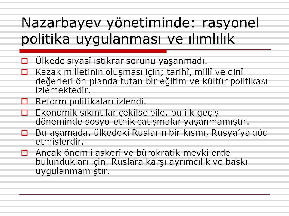 Nazarbayev yönetiminde: rasyonel politika uygulanması ve ılımlılık