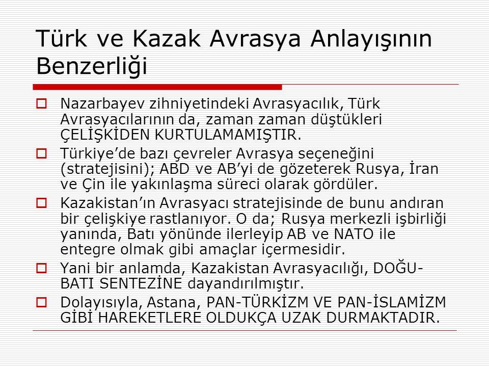 Türk ve Kazak Avrasya Anlayışının Benzerliği