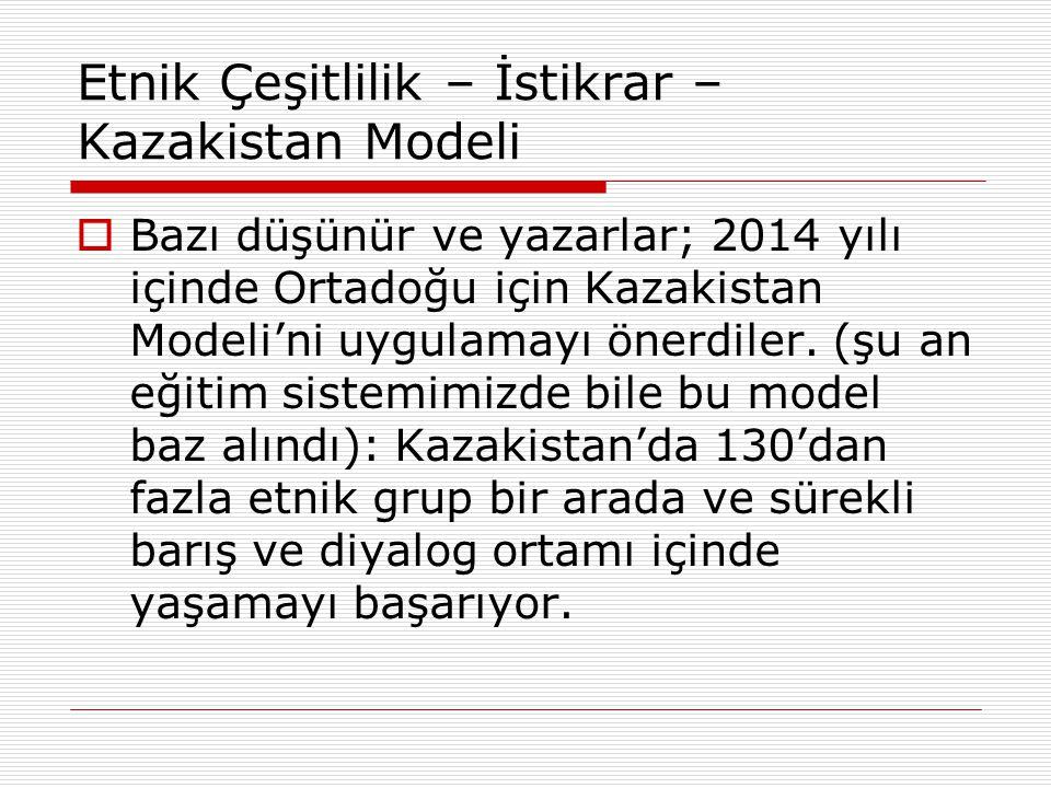 Etnik Çeşitlilik – İstikrar – Kazakistan Modeli