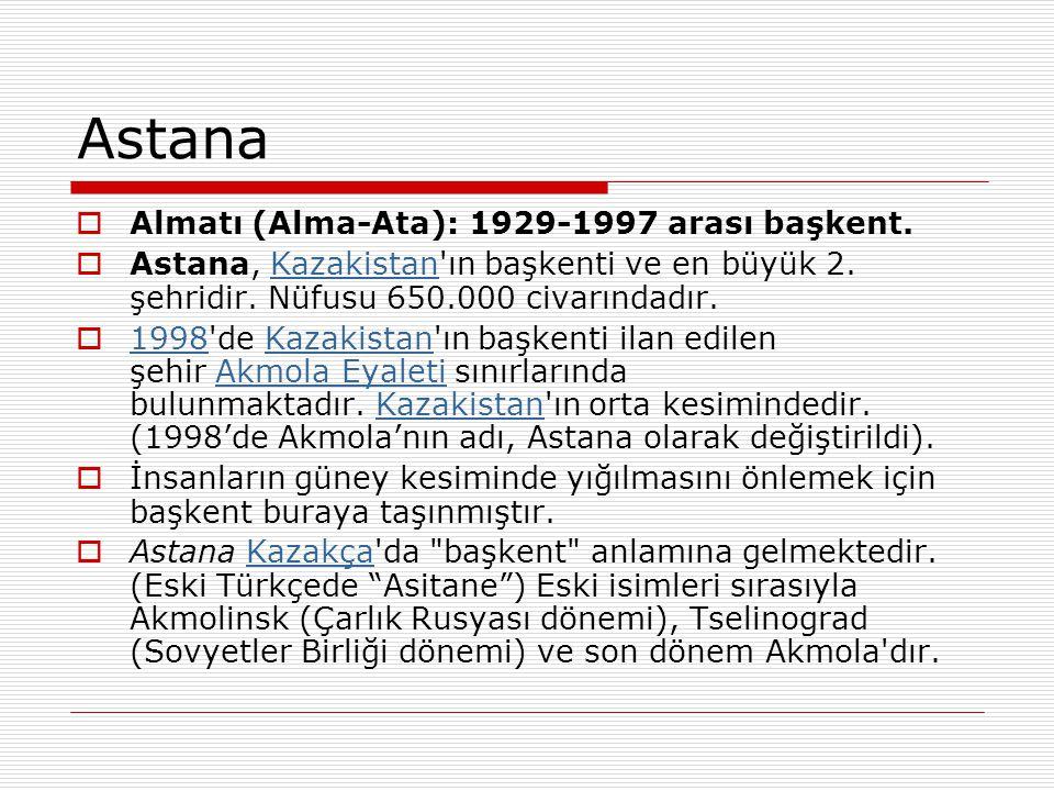Astana Almatı (Alma-Ata): 1929-1997 arası başkent.