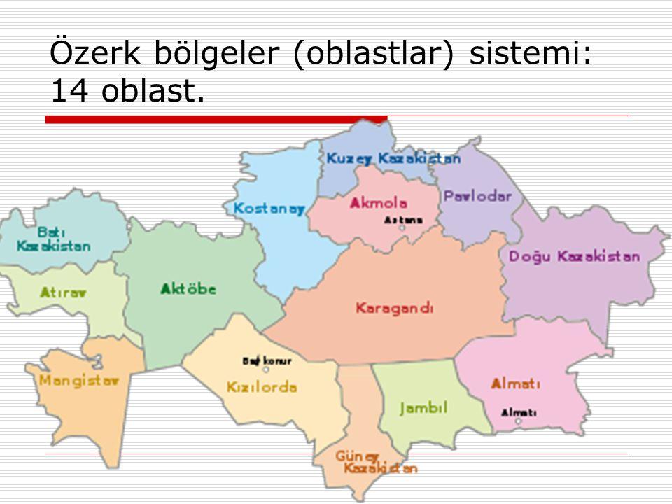 Özerk bölgeler (oblastlar) sistemi: 14 oblast.