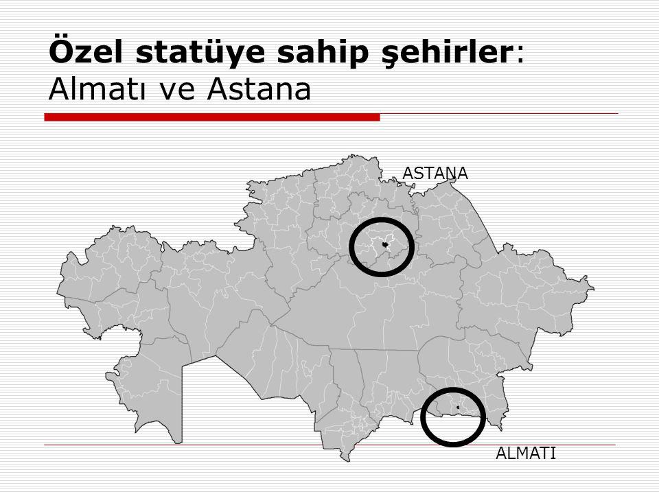 Özel statüye sahip şehirler: Almatı ve Astana