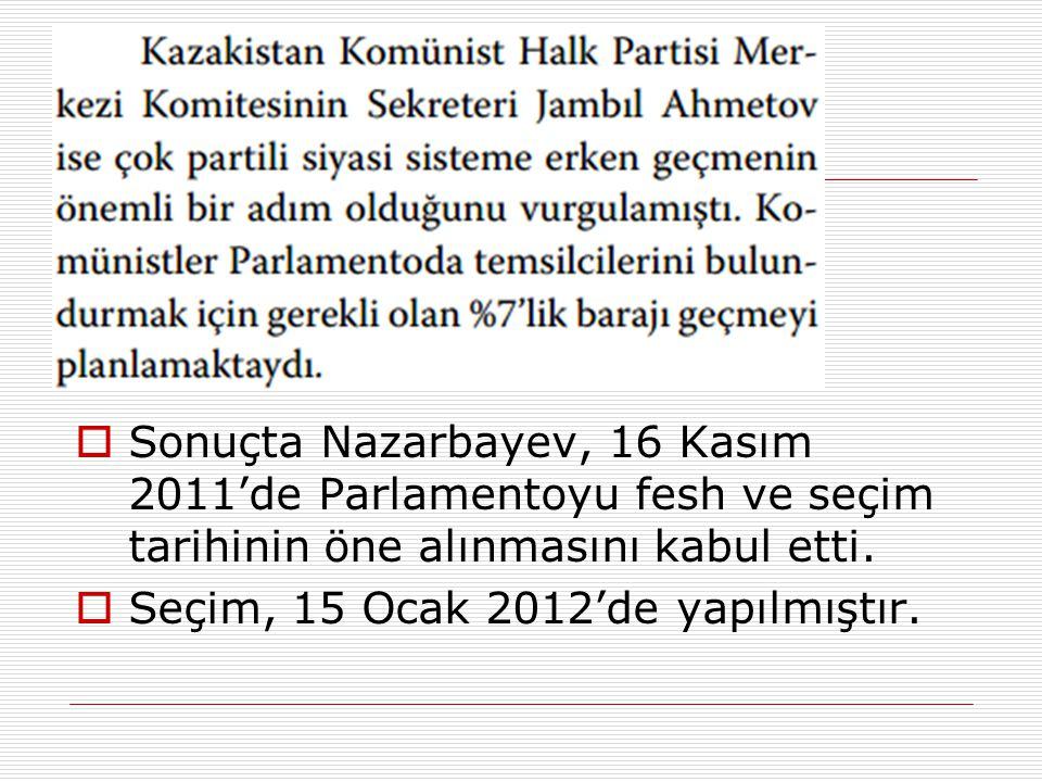 Sonuçta Nazarbayev, 16 Kasım 2011'de Parlamentoyu fesh ve seçim tarihinin öne alınmasını kabul etti.