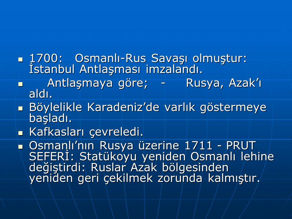 1700: Osmanlı-Rus Savaşı olmuştur: İstanbul Antlaşması imzalandı.