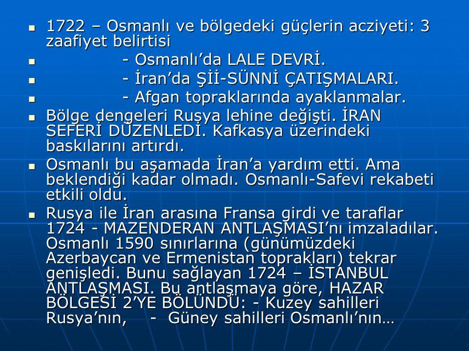 1722 – Osmanlı ve bölgedeki güçlerin acziyeti: 3 zaafiyet belirtisi