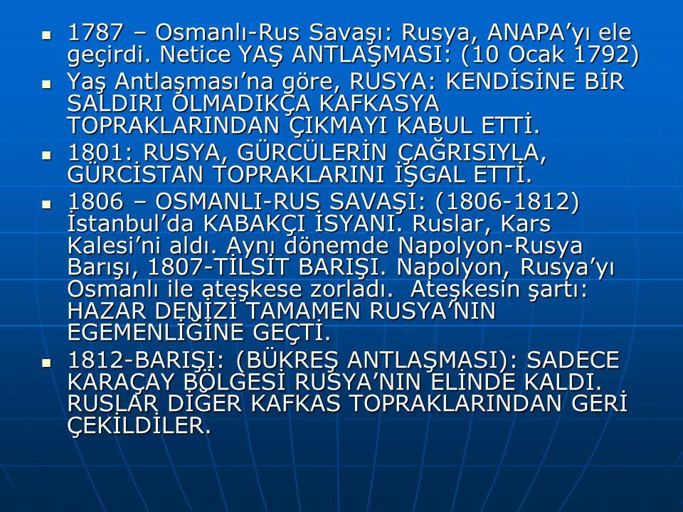 1787 – Osmanlı-Rus Savaşı: Rusya, ANAPA'yı ele geçirdi