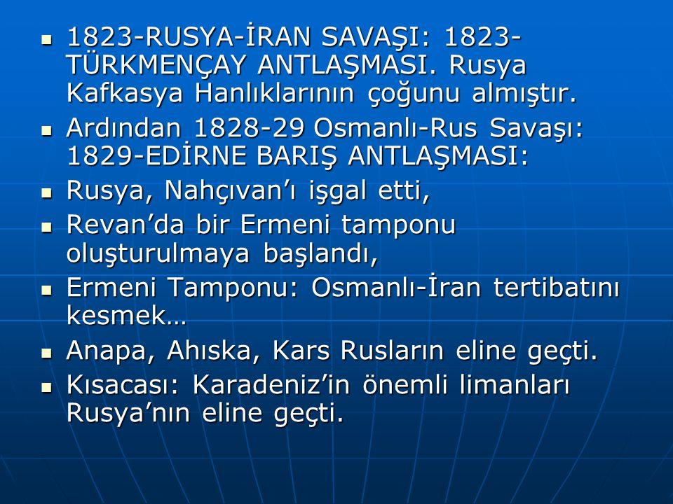 1823-RUSYA-İRAN SAVAŞI: 1823-TÜRKMENÇAY ANTLAŞMASI