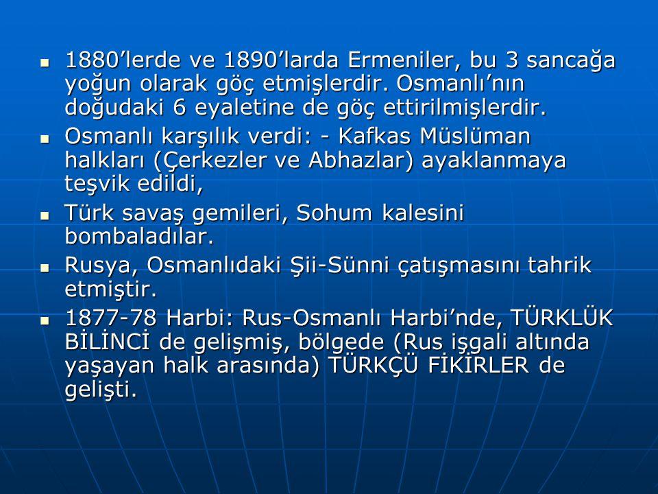 1880'lerde ve 1890'larda Ermeniler, bu 3 sancağa yoğun olarak göç etmişlerdir. Osmanlı'nın doğudaki 6 eyaletine de göç ettirilmişlerdir.