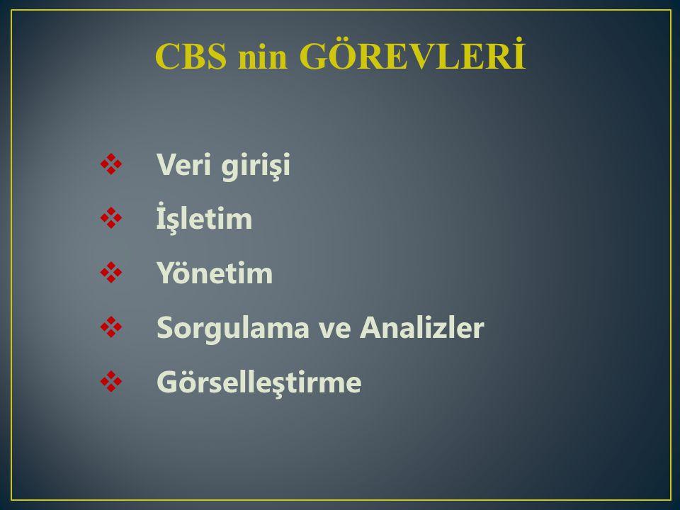 CBS nin GÖREVLERİ Veri girişi İşletim Yönetim Sorgulama ve Analizler