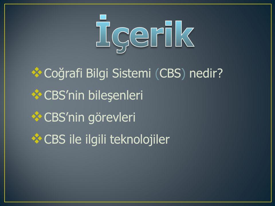 İçerik Coğrafi Bilgi Sistemi (CBS) nedir CBS'nin bileşenleri