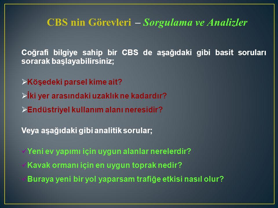 CBS nin Görevleri – Sorgulama ve Analizler