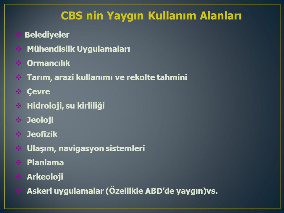 CBS nin Yaygın Kullanım Alanları