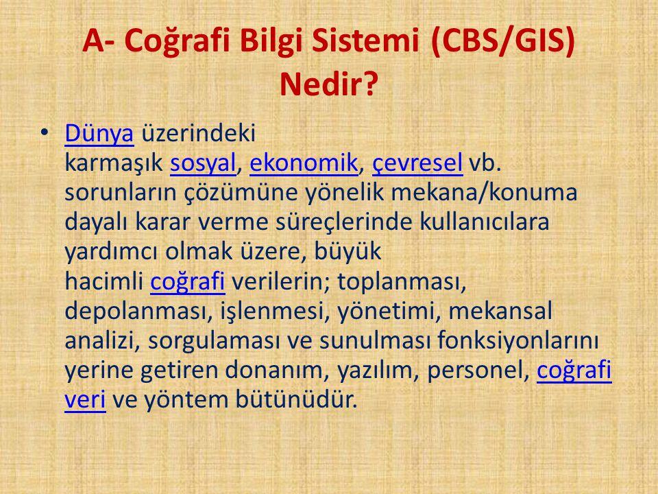 A- Coğrafi Bilgi Sistemi (CBS/GIS) Nedir