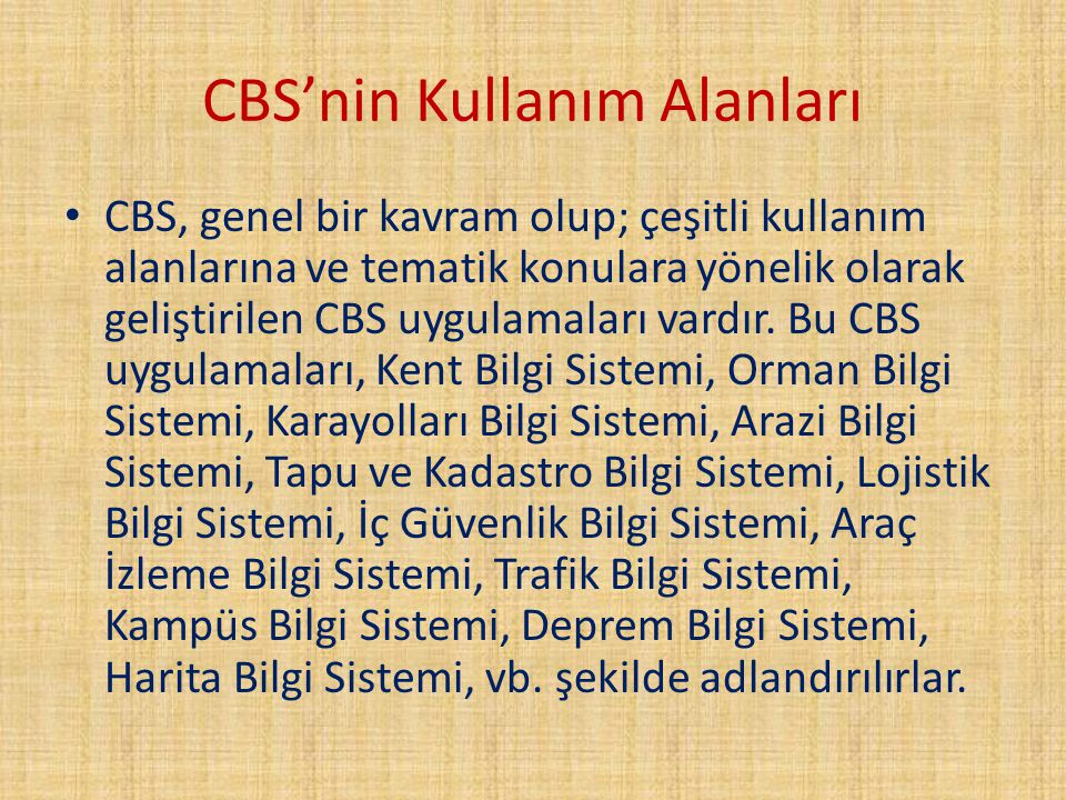 CBS'nin Kullanım Alanları