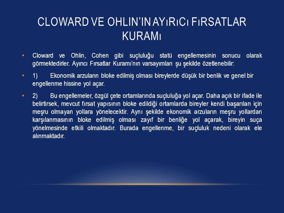 Cloward ve Ohlin'in Ayırıcı Fırsatlar Kuramı