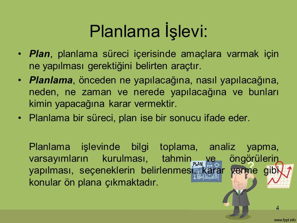 Planlama İşlevi: Plan, planlama süreci içerisinde amaçlara varmak için ne yapılması gerektiğini belirten araçtır.