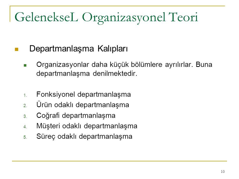 GelenekseL Organizasyonel Teori