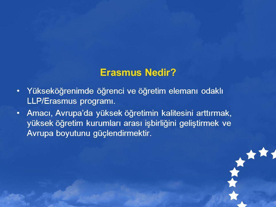 Erasmus Nedir Yükseköğrenimde öğrenci ve öğretim elemanı odaklı LLP/Erasmus programı.