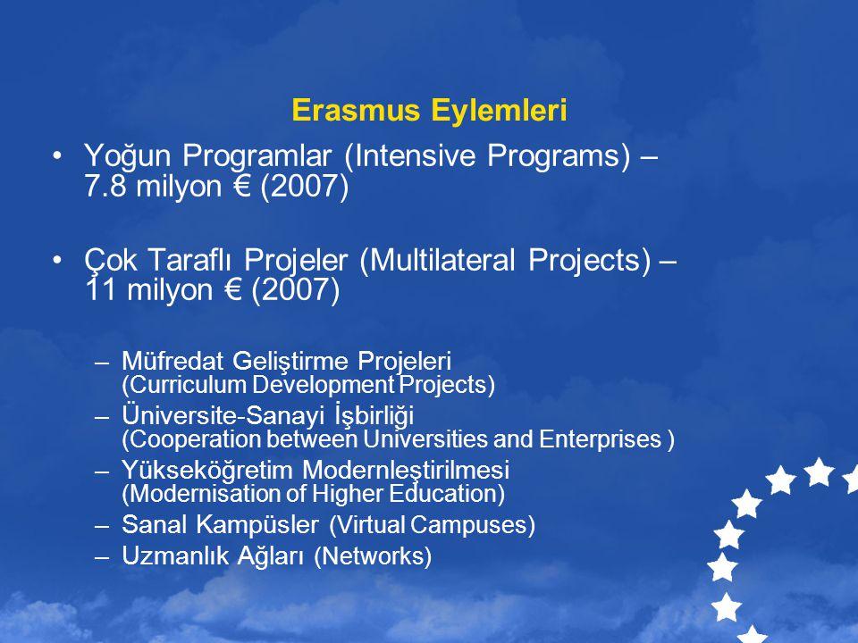 Yoğun Programlar (Intensive Programs) – 7.8 milyon € (2007)