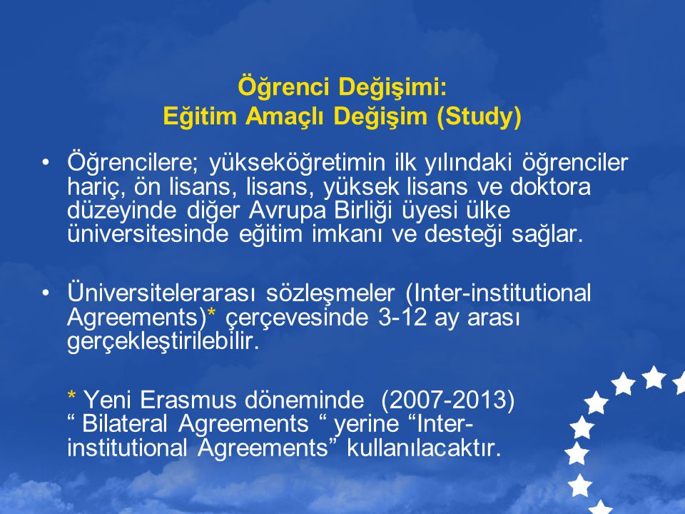 Öğrenci Değişimi: Eğitim Amaçlı Değişim (Study)