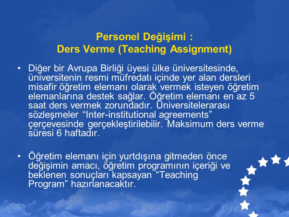 Personel Değişimi : Ders Verme (Teaching Assignment)
