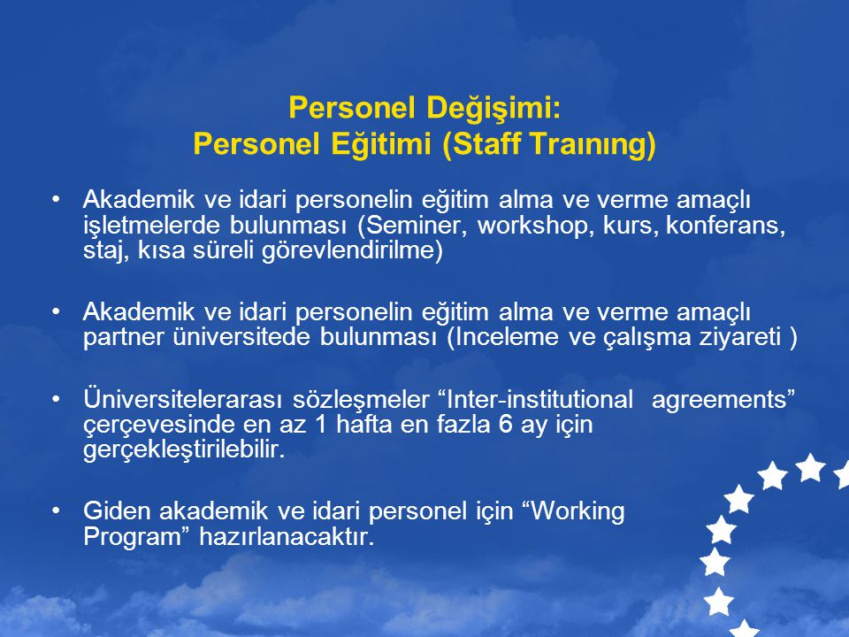 Personel Değişimi: Personel Eğitimi (Staff Traınıng)