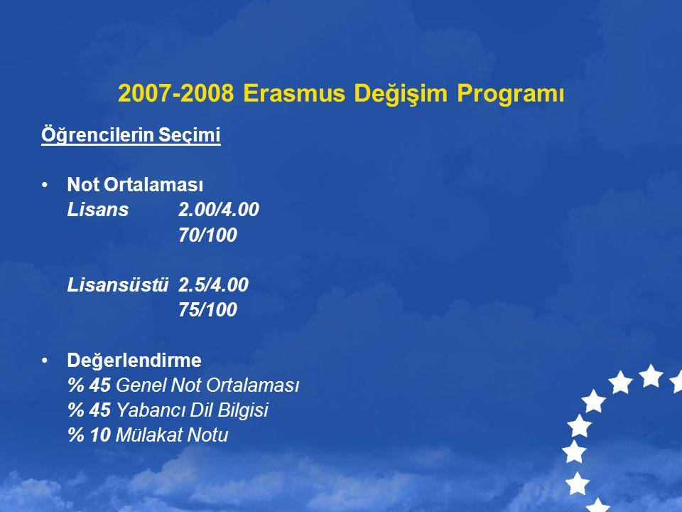 2007-2008 Erasmus Değişim Programı