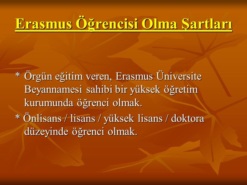 Erasmus Öğrencisi Olma Şartları