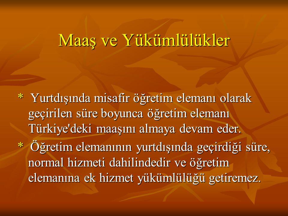 Maaş ve Yükümlülükler * Yurtdışında misafir öğretim elemanı olarak geçirilen süre boyunca öğretim elemanı Türkiye deki maaşını almaya devam eder.