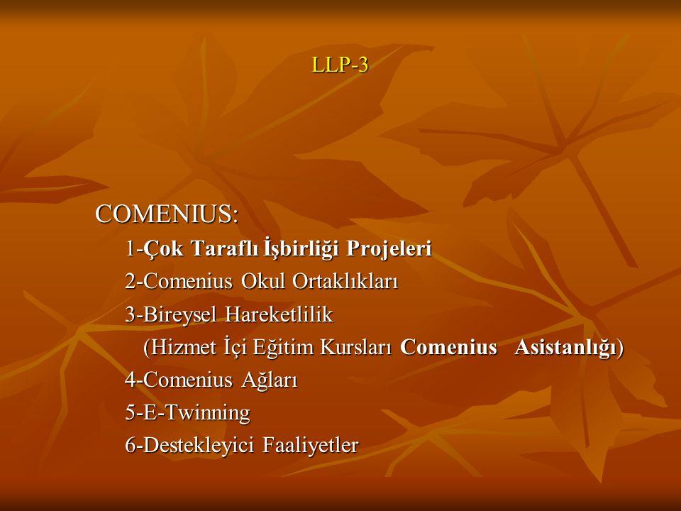 COMENIUS: LLP-3 1-Çok Taraflı İşbirliği Projeleri