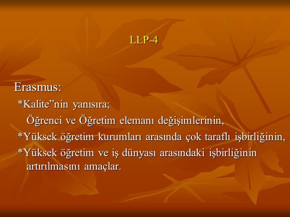 Erasmus: LLP-4 *Kalite nin yanısıra;