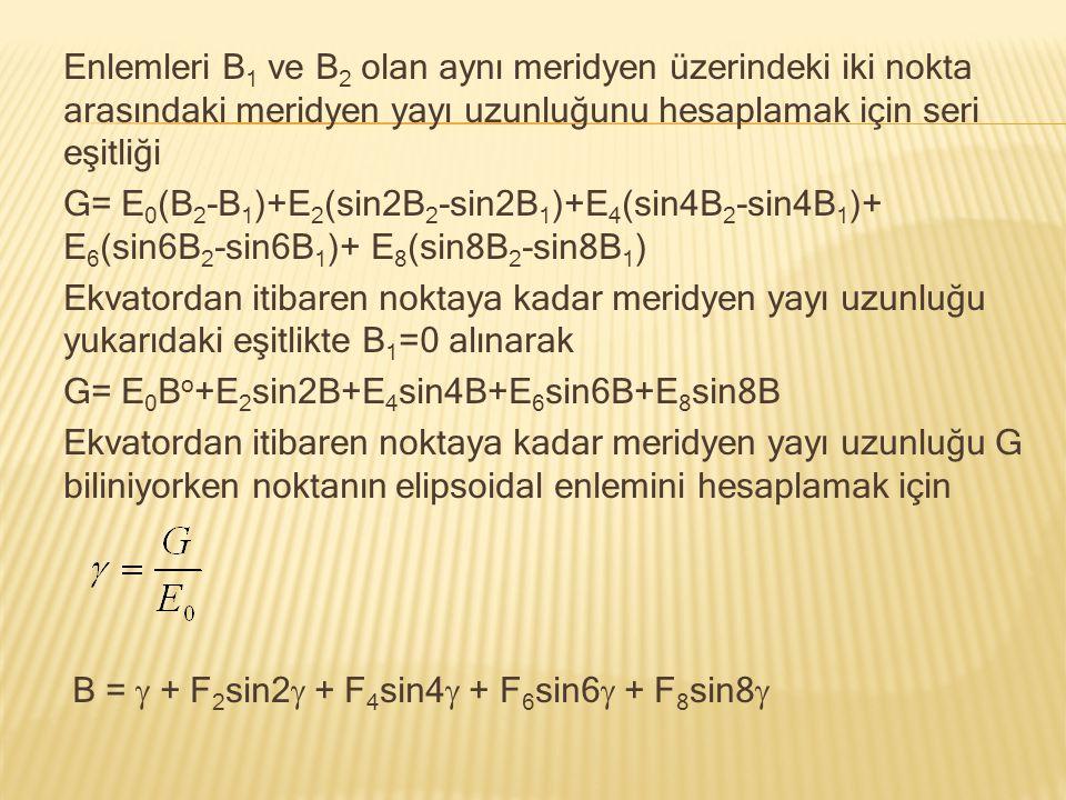 Enlemleri B1 ve B2 olan aynı meridyen üzerindeki iki nokta arasındaki meridyen yayı uzunluğunu hesaplamak için seri eşitliği