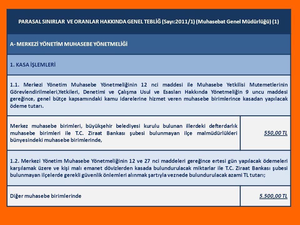 PARASAL SINIRLAR VE ORANLAR HAKKINDA GENEL TEBLİĞ (Sayı:2011/1) (Muhasebat Genel Müdürlüğü) (1)