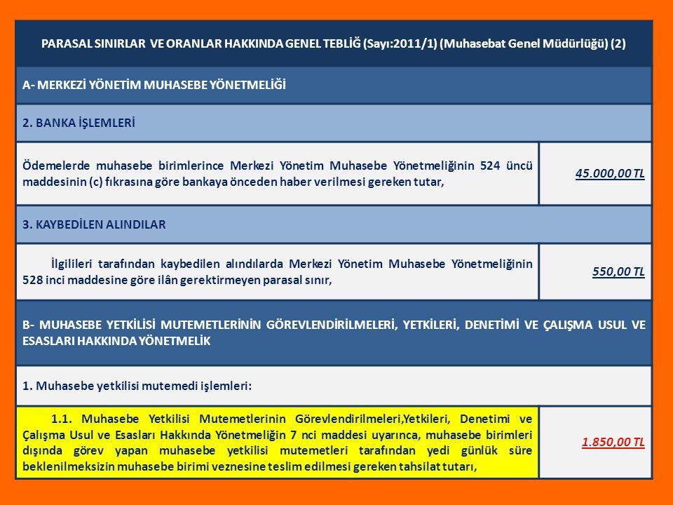 PARASAL SINIRLAR VE ORANLAR HAKKINDA GENEL TEBLİĞ (Sayı:2011/1) (Muhasebat Genel Müdürlüğü) (2)