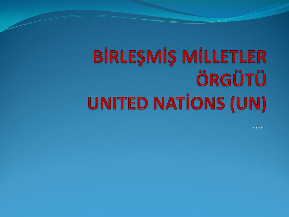 BİRLEŞMİŞ MİLLETLER ÖRGÜTÜ UNITED NATİONS (UN)