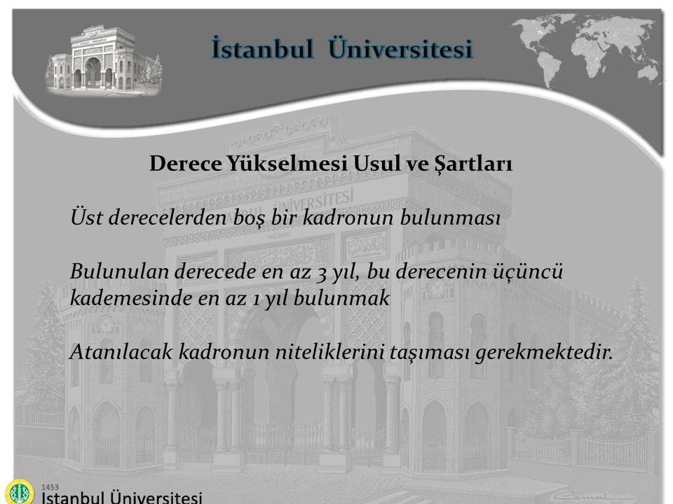 İstanbul Üniversitesi Derece Yükselmesi Usul ve Şartları