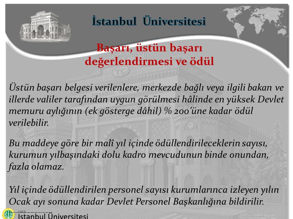 İstanbul Üniversitesi değerlendirmesi ve ödül