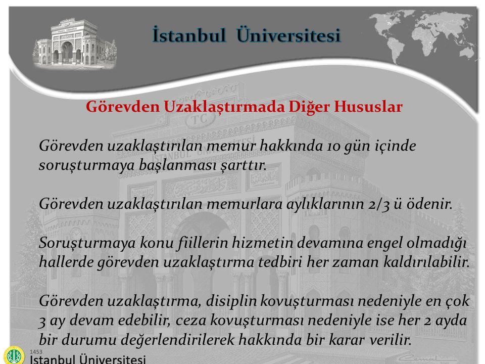 İstanbul Üniversitesi Görevden Uzaklaştırmada Diğer Hususlar