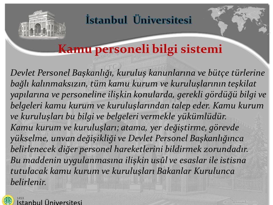 İstanbul Üniversitesi Kamu personeli bilgi sistemi