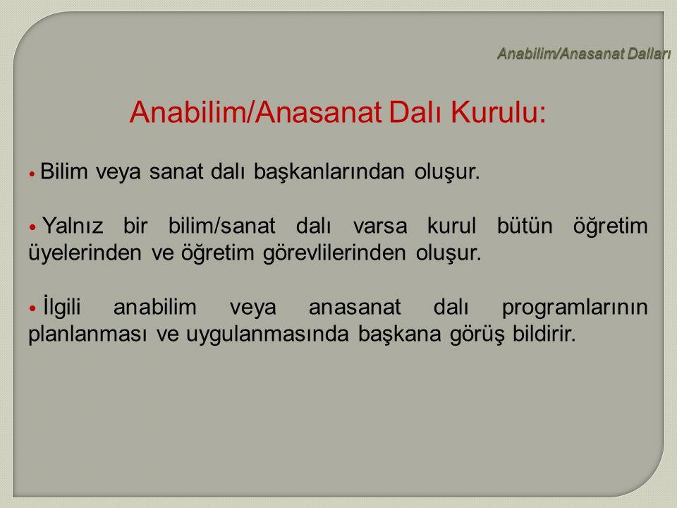 Anabilim/Anasanat Dalları
