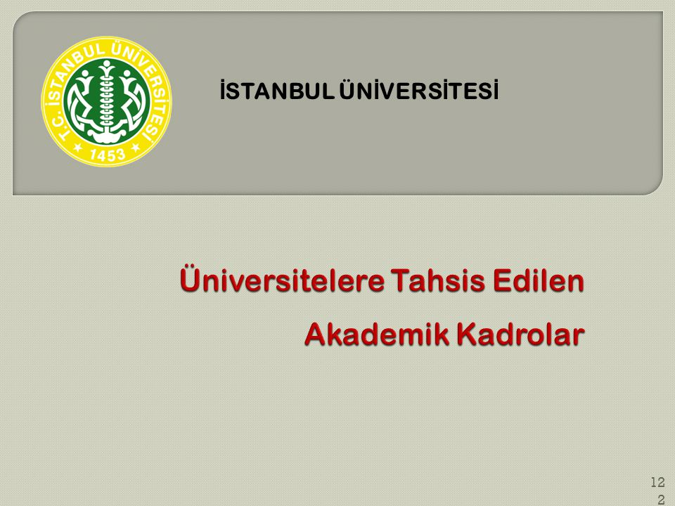 Üniversitelere Tahsis Edilen Akademik Kadrolar