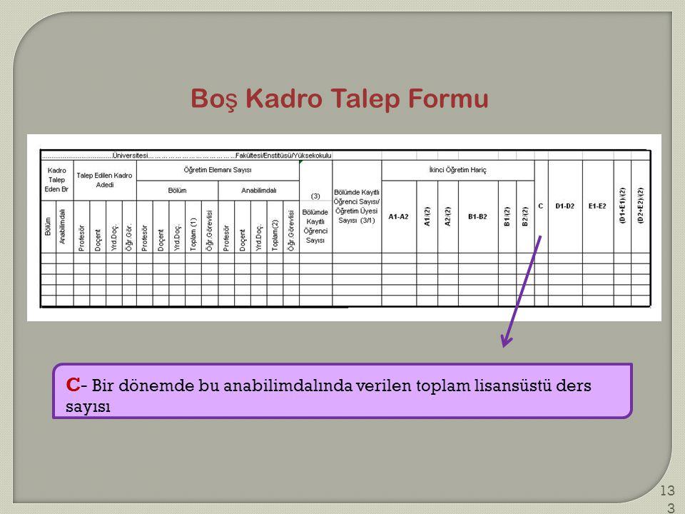 Boş Kadro Talep Formu C- Bir dönemde bu anabilimdalında verilen toplam lisansüstü ders sayısı