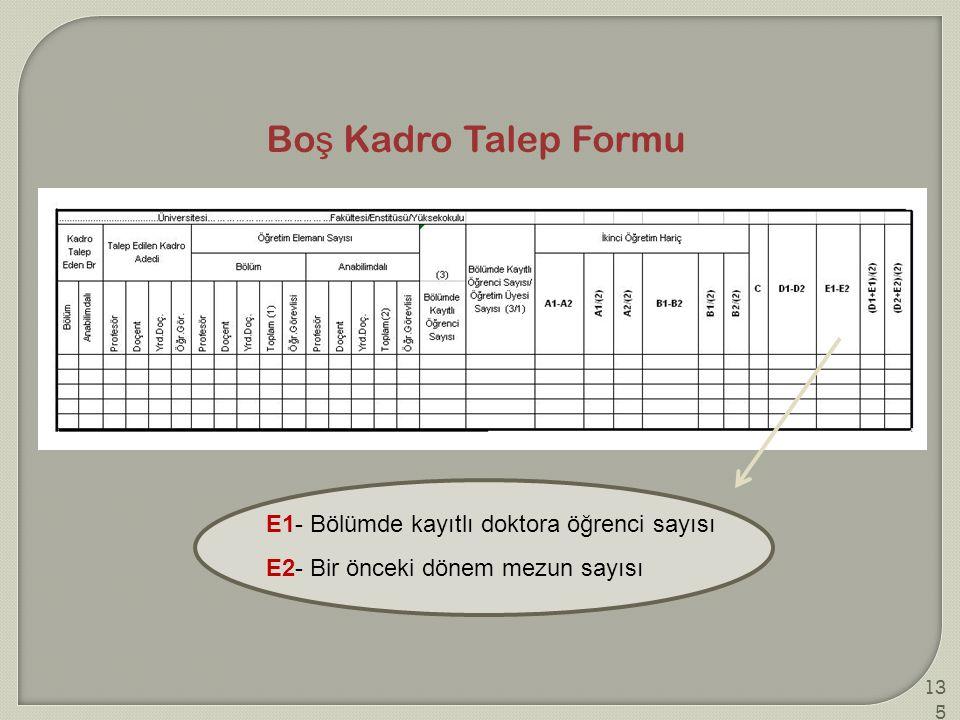Boş Kadro Talep Formu E1- Bölümde kayıtlı doktora öğrenci sayısı
